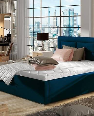 Rovigo 140 čalúnená manželská posteľ s roštom tmavomodrá