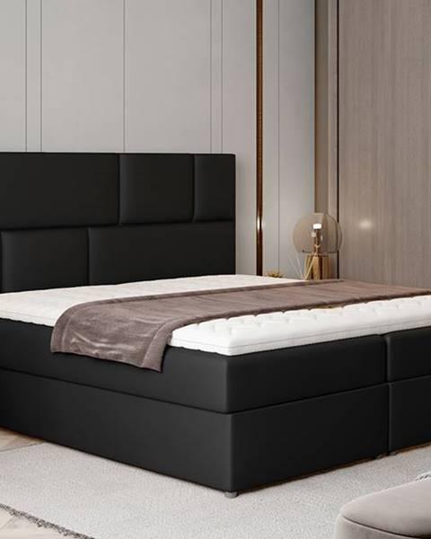 NABBI Ferine 185 čalúnená manželská posteľ s úložným priestorom čierna (Soft 11)