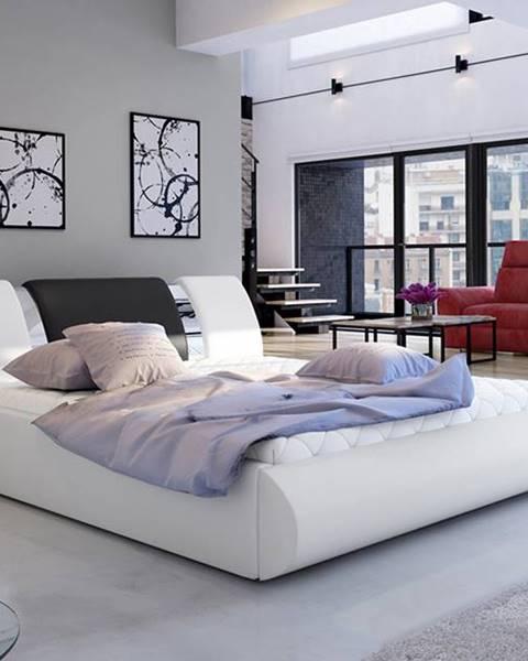 NABBI Folino 180 čalúnená manželská posteľ s roštom biela
