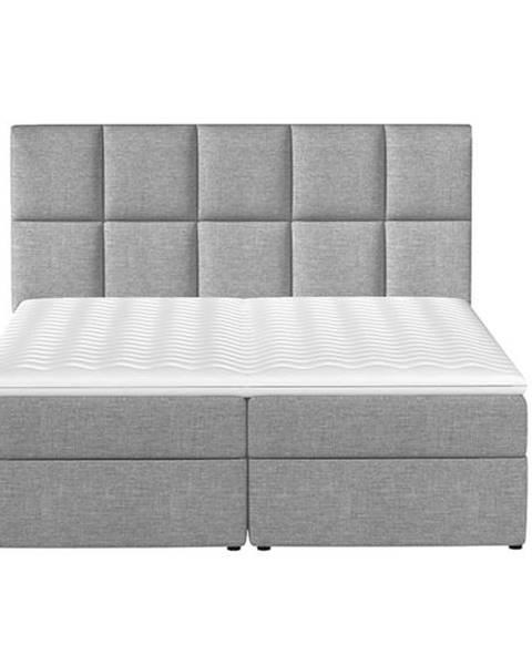 NABBI Grosio 185 čalúnená manželská posteľ s úložným priestorom svetlosivá