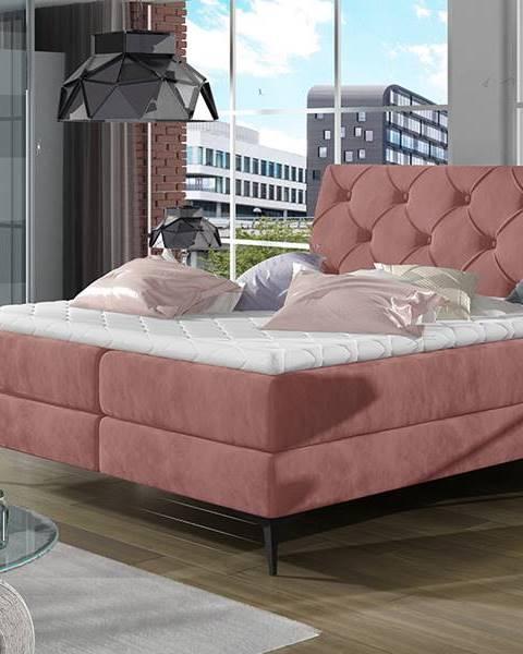 NABBI Lazio 160 čalúnená manželská posteľ s úložným priestorom ružová (Kronos 29)