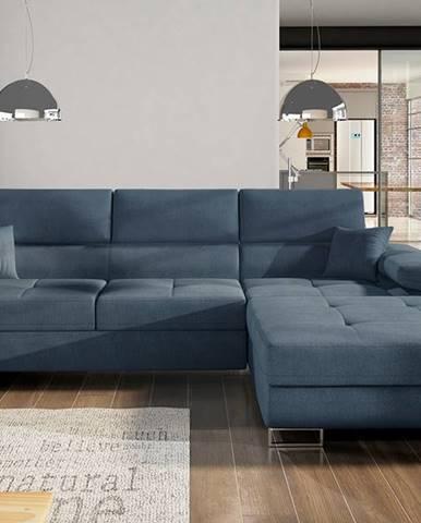 Alkazar P rohová sedačka s rozkladom a úložným priestorom modrá (Omega 86)