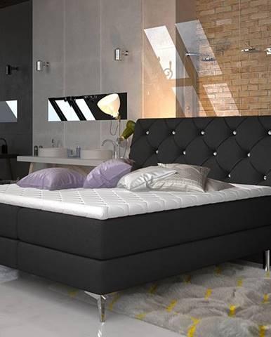 Amika 160 čalúnená manželská posteľ s úložným priestorom čierna (Sawana 14)