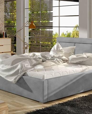 Branco 140 čalúnená manželská posteľ s roštom svetlosivá (Paros 05)