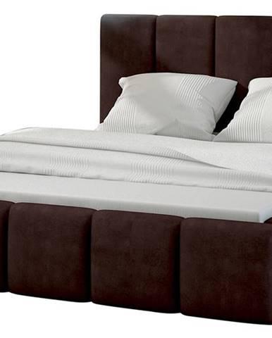 Evora 160 čalúnená manželská posteľ tmavohnedá (Jasmine 29)