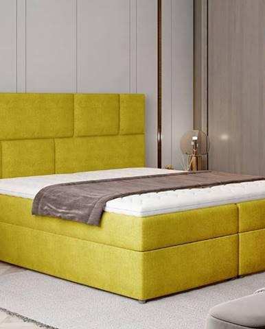 Ferine 145 čalúnená manželská posteľ s úložným priestorom žltá
