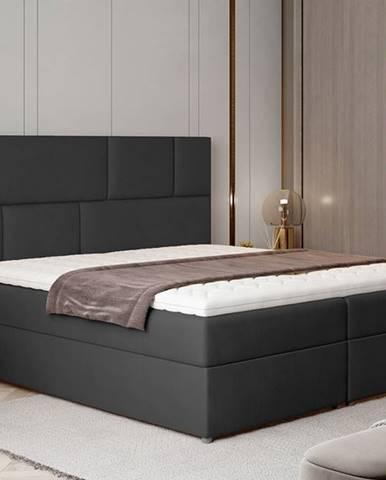 Ferine 165 čalúnená manželská posteľ s úložným priestorom čierna (Monolith 97)