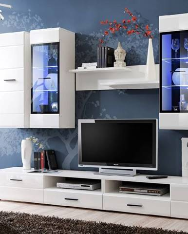 Lauren obývacia stena s osvetlením biela