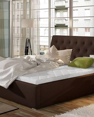 Monzo UP 140 čalúnená manželská posteľ s roštom tmavohnedá (Soft 66)