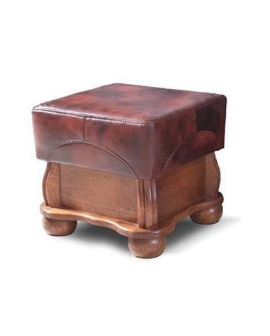 Parys kožená taburetka drevo D3