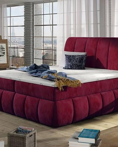 Vareso 180 čalúnená manželská posteľ s úložným priestorom bordová