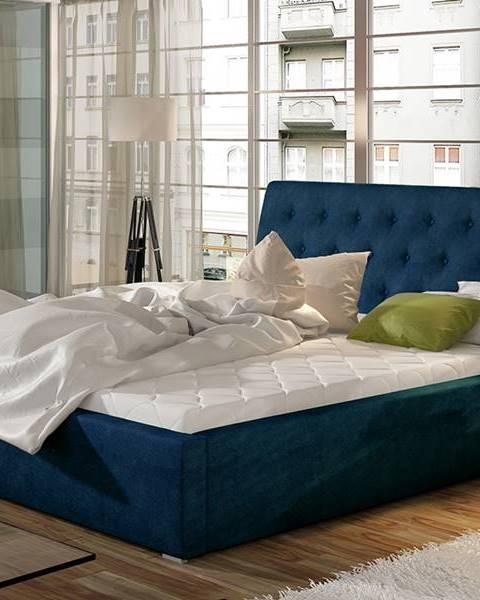 NABBI Monzo UP 140 čalúnená manželská posteľ s roštom tmavomodrá