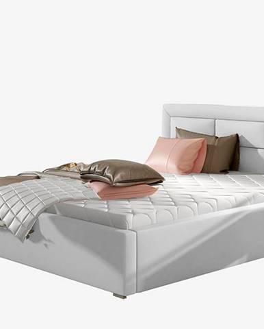 Rovigo UP 160 čalúnená manželská posteľ s roštom biela