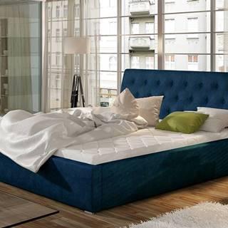Monzo UP 140 čalúnená manželská posteľ s roštom tmavomodrá