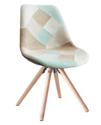 Gloria jedálenská stolička mentolový patchwork
