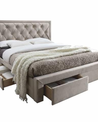 Orea 160 čalúnená manželská posteľ s roštom sivohnedá