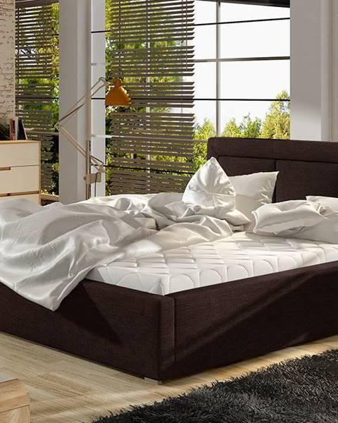 NABBI Branco UP 160 čalúnená manželská posteľ s roštom tmavohnedá (Sawana 26)