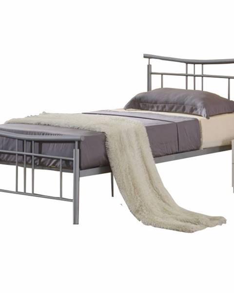 Kondela Dorado 90 kovová jednolôžková posteľ s roštom matná strieborná