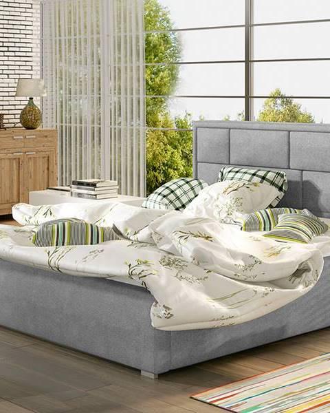 NABBI Liza 140 čalúnená manželská posteľ s roštom svetlosivá (Paros 05)