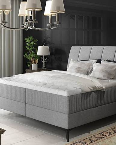 Altama 140 čalúnená manželská posteľ s úložným priestorom svetlosivá (Sawana 21)