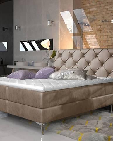 Amika 160 čalúnená manželská posteľ s úložným priestorom hnedá