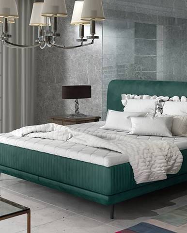 Ancona 180 čalúnená manželská posteľ tmavozelená