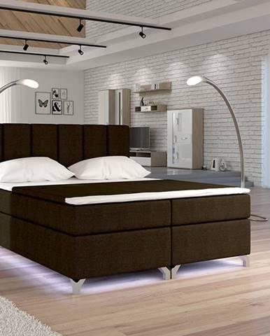 Barino 160 čalúnená manželská posteľ s úložným priestorom tmavohnedá (Sawana 26)