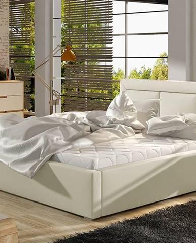 Branco 200 čalúnená manželská posteľ s roštom béžová