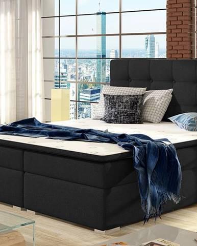 Isola 160 čalúnená manželská posteľ čierna (Sawana 14)