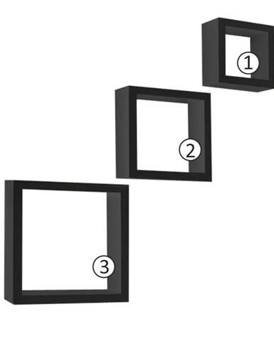 Kvadro New poličky (3 ks) čierna