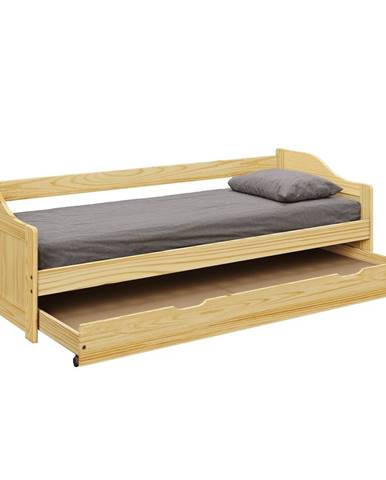 Laura New drevená jednolôžková posteľ s prístelkou prírodná