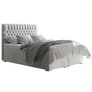 Fonda čalúnená manželská posteľ s matracom svetlosivá