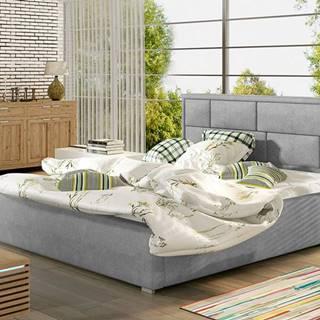 Liza 140 čalúnená manželská posteľ s roštom svetlosivá (Paros 05)