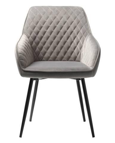 Sivá zamatová jedálenská stolička Unique Furniture Milton