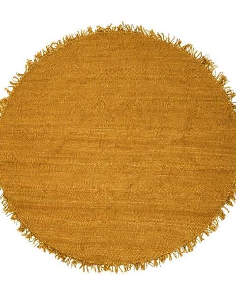 Bloomingville Žltý jutový koberec Bloomingville Sun, ⌀ 150 cm
