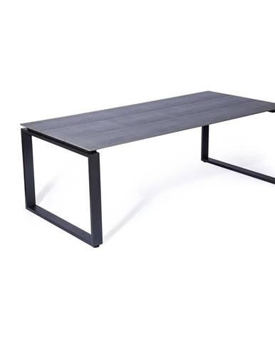 Sivý záhradný stôl pre 8 osôb Le Bonom Strong, 100 x 210 cm