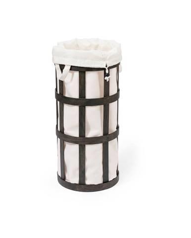 Čierny drevený kôš na bielizeň s bielym vakom Wireworks Cage