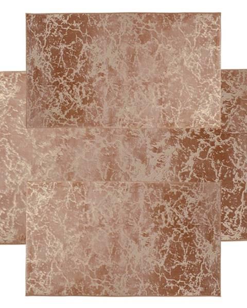 Tempo Kondela Spálňový set 3 ks moderný koberec béžová/zlatý vzor RAKEL TYP 2