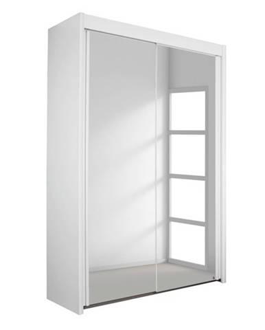 Šatníková skriňa KING 2 biela, 151 cm, 2 zrkadlá