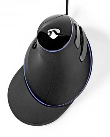 Káblová ergonomická myš Nedis ERGOMSWD200BK, čierna + Zdarma podložka Olpran