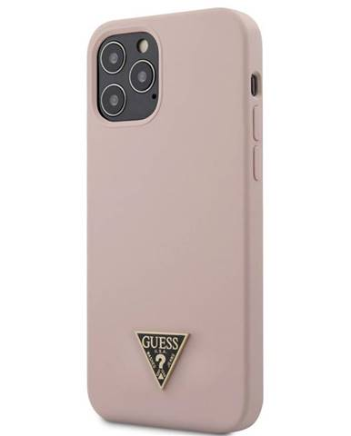 Kryt na mobil Guess Silicone Metal Triangle na Apple iPhone 12/12