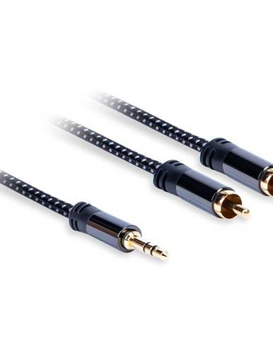 Kábel AQ 3,5mm Jack/2xRCA, M/M, 0,75m čierny