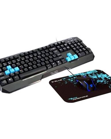 Klávesnica s myšou E-Blue Polygon s podložkou pod myš čierna/modrá