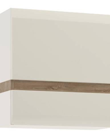 Visiaca skrinka biela extra vysoký lesk HG/dub sonoma tmavý truflový LYNATET TYP 66