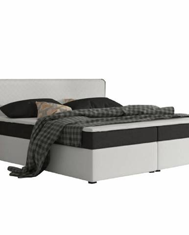 Komfortná posteľ čierna látka/biela ekokoža 160x200 NOVARA KOMFORT
