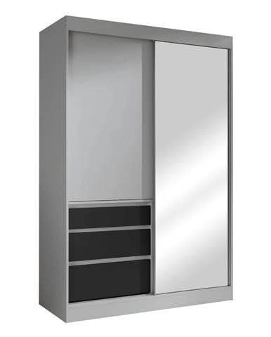 Skriňa s posúvacími dverami sivá/čierna 140 ROMUALDA