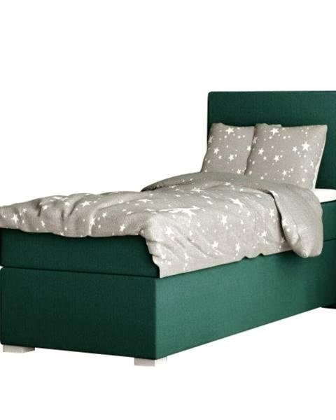 Kondela Boxspringová posteľ jednolôžko zelená 80x200 pravá SAFRA