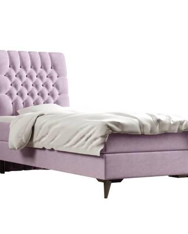 Boxspringová posteľ jednolôžko fialová 80x200 ľavá BARY