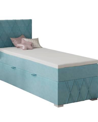 Boxspringová posteľ jednolôžko modrá 80x200 ľavá PAXTON