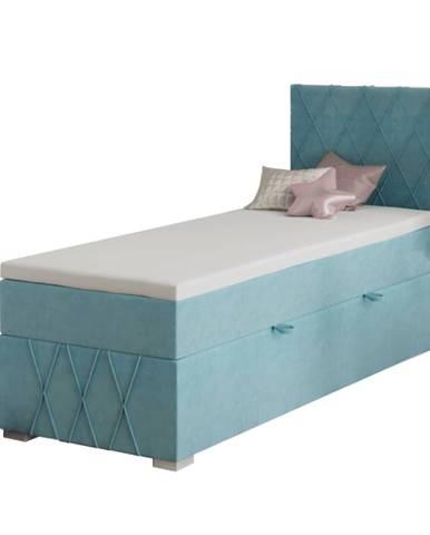 Boxspringová posteľ jednolôžko modrá 90x200 pravá PAXTON